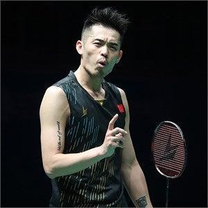 Lin Dan celebrating victory